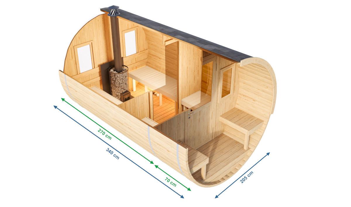 Baiba - sauna de barril con terraza