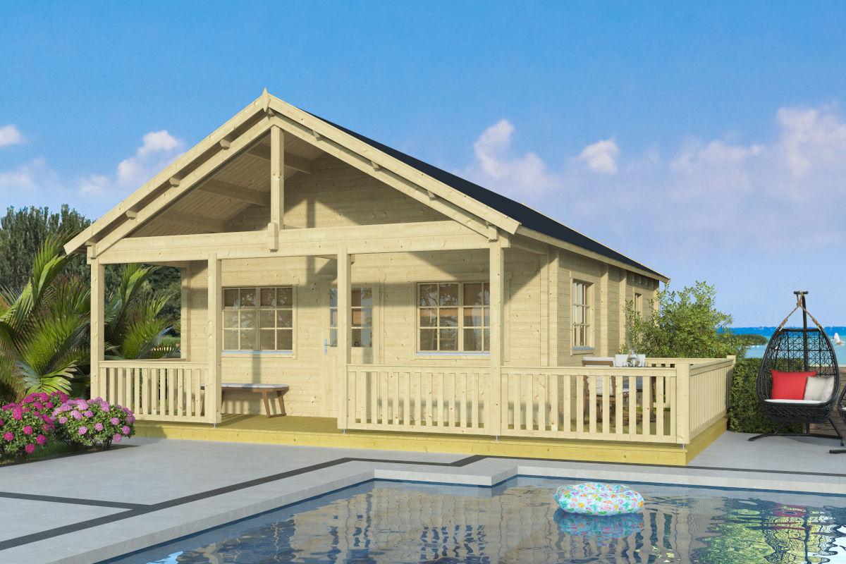 Esmeralda 90 - Una casa de troncos con una sauna