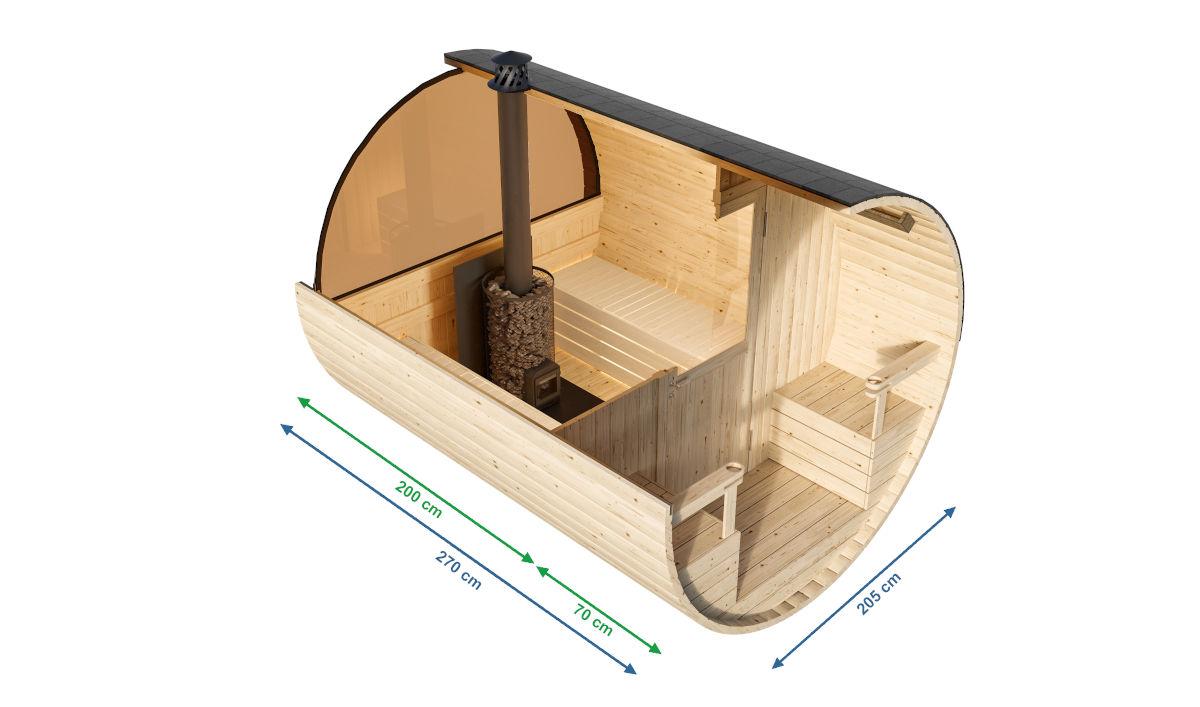 Granada - sauna de barril con capacidad para 2-4 personas