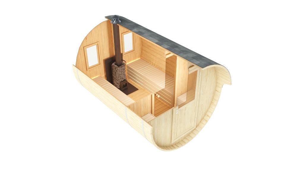 Palma - sauna de barril con capacidad para 2-4 personas